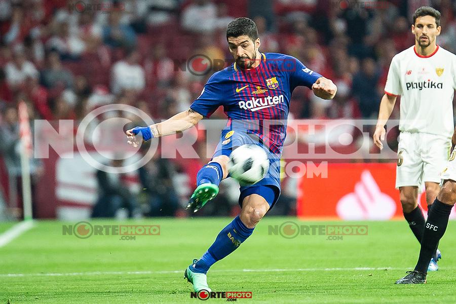 FC Barcelona Luis Suarez during King's Cup Finals match between Sevilla FC and FC Barcelona at Wanda Metropolitano in Madrid, Spain. April 21, 2018. (ALTERPHOTOS/Borja B.Hojas)
