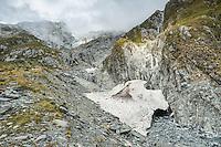 Alpine creek near Copland Pass with avalanche remnants, Westland National Park, West Coast, South Westland, World Heritage Area, New Zealand