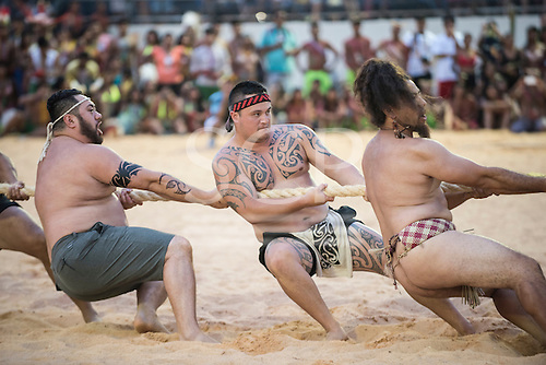 The New Zealand Maori team heave on the rope during the tug of war at the International Indigenous Games, in the city of Palmas, Tocantins State, Brazil. Photo © Sue Cunningham, pictures@scphotographic.com 25th October 2015
