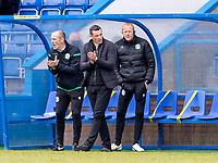 18th April 2021; Stair Park, Stranraer, Dumfries, Scotland; Scottish Cup Football, Stranraer versus Hibernian; Jack Ross Hibernian Manager and back room staff on the touchline