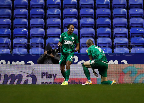 4th November 2020; Madejski Stadium, Reading, Berkshire, England; English Football League Championship Football, Reading versus Preston North End; Scott Sinclair of Preston North End celebrates with Emil Riis Jakobsen of Preston North End after scoring  his sides 1st goal in the 64th minute to make it 0-1