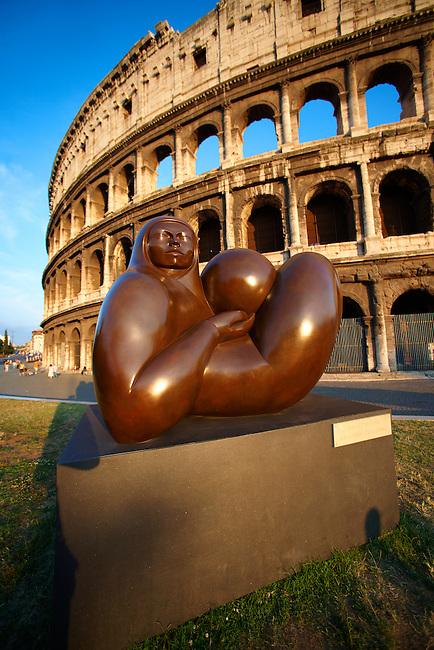 Modern sculpture by Jmenez Deredia  outside the Coloseum . Rome