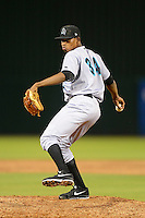 Jupiter Hammerheads pitcher Jose Urena #39 during a game against the Fort Myers Miracle on April 9, 2013 at Hammond Stadium in Fort Myers, Florida.  Fort Myers defeated Jupiter 1-0.  (Mike Janes/Four Seam Images)