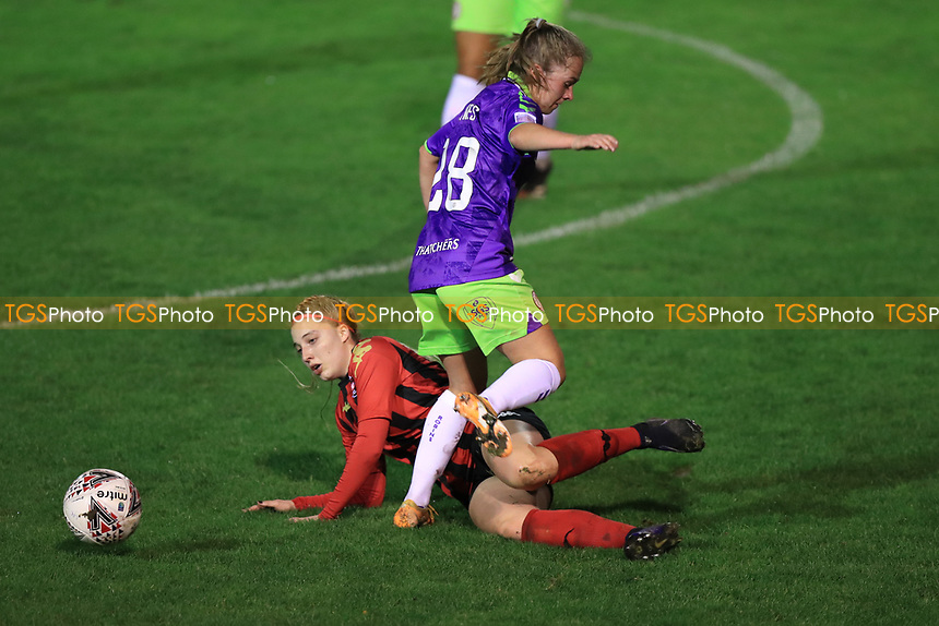 Ellen Jones of Bristol City is challenged during Lewes Women vs Bristol City Women, FA Women's Continental League Cup Football at The Dripping Pan on 18th November 2020