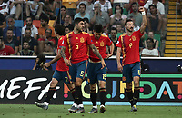 Spain's Fabian Ruiz, right, celebrates with teammates after scoring a goal during the Uefa Under 21 Championship 2019 football final match between Spain and Germany at Udine's Friuli stadium, Italy, June 30, 2019. Spain won 2-1.<br /> UPDATE IMAGES PRESS/Isabella Bonotto