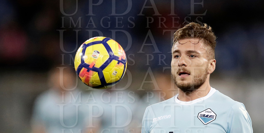 Calcio, Serie A: Roma, stadio Olimpico, 11 dicembre 2017.<br /> Lazio's Ciro Immobile in action during the Italian Serie A football match between Lazio and Torino at Rome's Olympic stadium, December 11, 2017.<br /> UPDATE IMAGES PRESS/Isabella Bonotto