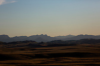 A view of the Rocky Mountain Front outside Fort Shaw, Montana, USA.