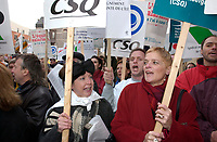 Montreal, Dec2,  2001<br /> <br /> Quebec Teachers Federation's (FEEQ) President ; Johanne Fortier (R), carries a take part in a protest in outside an event attended by Quebec Premier ; Bernard Landry, Dec 2nd 2001 in Montreal, CANADA<br /> <br /> The Teachers are in negociation for a new work contract<br /> <br /> Photo by Sevy-IMAGES DISTRIBUTION <br /> <br /> NOTE :  D-1 H original JPEG, saved as Adobe 198 RGB