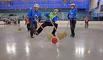 Challenge Mer et Montagne 2012, Saint Gervais les Bains, Mont Blanc, Haute Savoie, France..Prologue, broom and ball tournament..Yves Le Blevec, Daniel Dulac, Christopher Pratt.