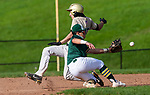 BEACON FALLS, CT 050621JS21—Woodland's Matthew Koliani (15) beats the throw to Holy Cross' Zakary Morales (4) to steal second base during their key NVL match up Thursday at Woodland Regional High School.<br /> Jim Shannon Republican American