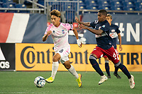 FOXBOROUGH, MA - SEPTEMBER 04: Michael Vang #8 Forward Madison FC advances the ball with Maciel #6 of New England Revolution II in pursuit during a game between Forward Madison FC and New England Revolution II at Gillette Stadium on September 04, 2020 in Foxborough, Massachusetts.