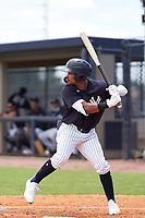 FCL Yankees Madison Santos (34) bats during a game against the FCL Tigers East on July 27, 2021 at the Yankees Minor League Complex in Tampa, Florida. (Mike Janes/Four Seam Images)