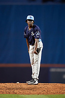 Charlotte Stone Crabs relief pitcher Deivy Mendez (34) looks in for the sign during the first game of a doubleheader against the St. Lucie Mets on April 24, 2018 at First Data Field in Port St. Lucie, Florida.  St. Lucie defeated Charlotte 5-3.  (Mike Janes/Four Seam Images)