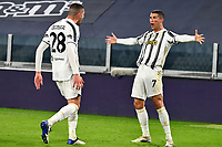 Cristiano Ronaldo of Juventus FC celebrates with Merih Demiral after scoring a goal during the Serie A football match between Juventus FC and Cagliari Calcio at Allianz stadium in Torino (Italy), November21th, 2020. Photo Giuliano Marchisciano / Insidefoto