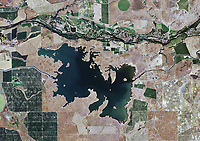 aerial view Turlock Lake fed by Turlock Main canal aqueduct Tuolumne river above Stanislaus county California