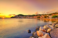 The sunset at Limni in Evia island, Greece