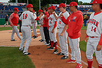 Auburn Doubledays pitcher Adrian Martinez (19) during introductions before a NY-Penn League game against the Batavia Muckdogs on June 14, 2019 at Dwyer Stadium in Batavia, New York.  Batavia defeated 2-0.  (Mike Janes/Four Seam Images)