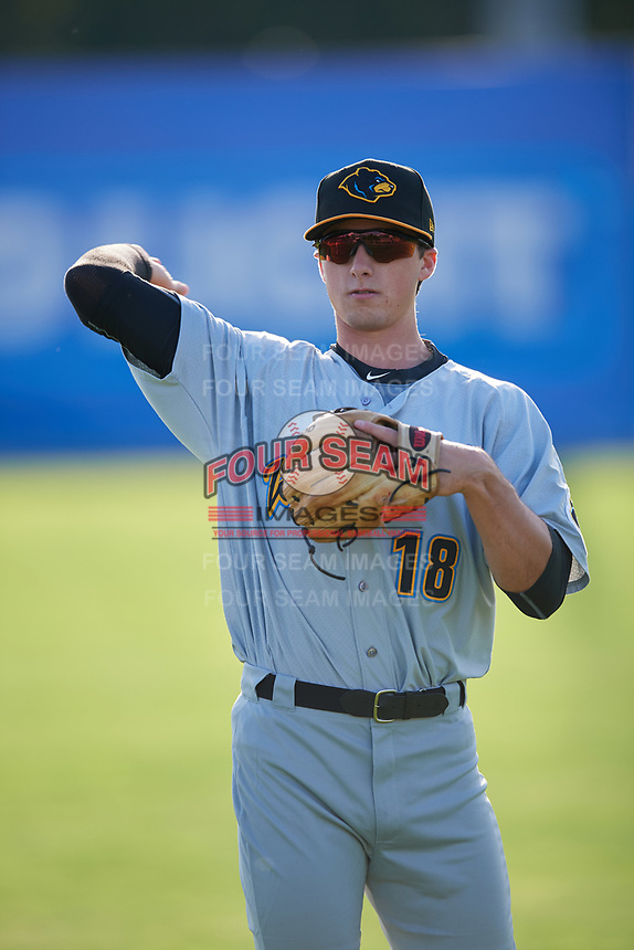 West Virginia Black Bears Brett Pope (18) during warmups before a game against the Batavia Muckdogs on June 24, 2017 at Dwyer Stadium in Batavia, New York.  The game was suspended in the bottom of the third inning and completed on June 25th with West Virginia defeating Batavia 6-4.  (Mike Janes/Four Seam Images)