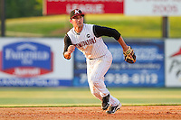 Drew Lee #11 of the Kannapolis Intimidators tracks a ground ball against the Delmarva Shorebirds at Fieldcrest Cannon Stadium on May 22, 2011 in Kannapolis, North Carolina.   Photo by Brian Westerholt / Four Seam Images