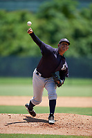 GCL Yankees East pitcher Edward Paredes (27) during a Gulf Coast League game against the GCL Phillies West on August 3, 2019 at the Carpenter Complex in Clearwater, Florida.  The GCL Yankees East defeated the GCL Phillies West 4-0, the second game of a doubleheader.  (Mike Janes/Four Seam Images)