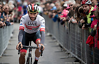 eventual stage winner Fernando Gaviria (COL/UAE-Emirates) with a striking moustache at the race start in Vinci (where the famous Leonardo is actually from... )<br /> <br /> Stage 3: Vinci to Orbetello (219km)<br /> 102nd Giro d'Italia 2019<br /> <br /> ©kramon