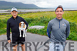 Richie Hanafin and Billy Lacey from Tralee with Coco the dog out in Coockleshell beach on Sunday.