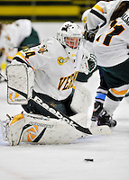 23 November 2011: University of Vermont Catamount goaltender Roxanne Douville, a Sophomore from Beloeil, Quebec, in action against the University of Maine Black Bears at Gutterson Fieldhouse in Burlington, Vermont. The Lady Bears defeated the Lady Cats 5-2 in Hockey East play. Mandatory Credit: Ed Wolfstein Photo