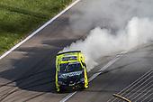 #19: Brandon Jones, Joe Gibbs Racing, Menards/Swiffer Toyota Supra celebrates his victory with a burnout