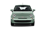Car photography straight front view of a 2017 Fiat 500 Pop 3 Door Hatchback Front View