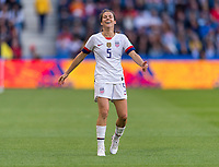 LE HAVRE,  - JUNE 20: Kelley O'Hara #5 reacts to a play during a game between Sweden and USWNT at Stade Oceane on June 20, 2019 in Le Havre, France.