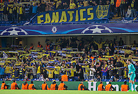 The Maccabi Tel Aviv support enjoy there evening despite defeat during the UEFA Champions League match between Chelsea and Maccabi Tel Aviv at Stamford Bridge, London, England on 16 September 2015. Photo by Andy Rowland.