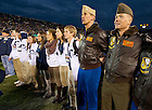 Nov 2, 2013; John Hiltz '02, sings the Alma Mater after Notre Dame's win over Navy.