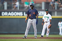 Emilio Gustave (13) of the Bowling Green Hot Rods takes his lead off of second base against the Dayton Dragons at Fifth Third Field on June 9, 2018 in Dayton, Ohio. The Hot Rods defeated the Dragons 1-0.  (Brian Westerholt/Four Seam Images)