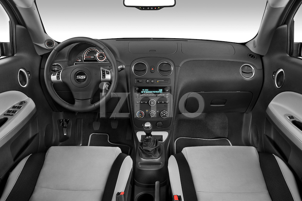 Straight dashboard view of a 2009 Chevrolet HHR SS.