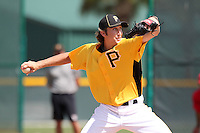 Pittsburgh Pirates pitcher Trent Stevenson #79 during an Instructional League game against the Philadelphia Phillies at Pirate City on October 11, 2011 in Bradenton, Florida.  (Mike Janes/Four Seam Images)