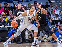 WASHINGTON, DC - JANUARY 28: Omer Yurtseven #44 of Georgetown pushes into Bryce Nze #10 of Butler during a game between Butler and Georgetown at Capital One Arena on January 28, 2020 in Washington, DC.