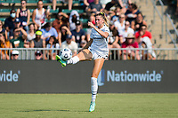 CARY, NC - SEPTEMBER 12: Kelli Hubly #20 of the Portland Thorns controls the ball during a game between Portland Thorns FC and North Carolina Courage at Sahlen's Stadium at WakeMed Soccer Park on September 12, 2021 in Cary, North Carolina.
