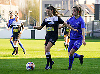 Aalst's defender Tiffanie Vanderdonckt and Genk's forward Hanne Merkelbach in action  during a female soccer game between Eendracht Aalst and Racing Genk on the fifth matchday of the 2020 - 2021 season of Belgian Scooore Womens Super League , Saturday 28 th of November 2020  in Aalst , Belgium . PHOTO SPORTPIX.BE | SPP | SEVIL OKTEM