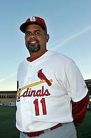 Mar 01, 2010; Jupiter, FL, USA; St. Louis Cardinals coach Jose Oquendo (11) during  photoday at Roger Dean Stadium. Mandatory Credit: Tomasso De Rosa/ Four Seam Images