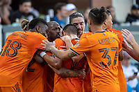 SAN JOSE, CA - JULY 24: Matias Vera #22 of the Houston Dynamo celebrates his goal with during a game between San Jose Earthquakes and Houston Dynamo at PayPal Park on July 24, 2021 in San Jose, California.