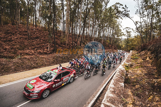 The start of Stage 15 of the Vuelta Espana 2020, running 230.8km from Mos to Puebla de Sanabria, Spain. 5th November 2020. <br /> Picture: Unipublic/Charly Lopez   Cyclefile<br /> <br /> All photos usage must carry mandatory copyright credit (© Cyclefile   Unipublic/Charly Lopez)