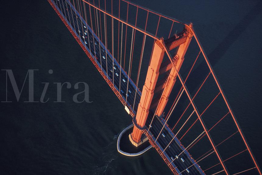 aerial view down onto Golden Gate Bridge San Francisco California