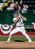 20 June 2021: Vermont Lake Monsters outfielder Sky Rahill, from Burlington, VT, at bat during a game against the Westfield Starfires at Centennial Field in Burlington, Vermont. Rahill went 1 for 2 with a walk and a two-run homer in the 8th inning, accounting for all the home team scoring, as the Lake Monsters fell to the Starfires 10-2 at Centennial Field, in Burlington, Vermont. Mandatory Credit: Ed Wolfstein Photo *** RAW (NEF) Image File Available ***