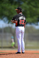 Miami Marlins pitcher Jacob Smigelski (82) during a minor league spring training game against the St. Louis Cardinals on March 31, 2015 at the Roger Dean Complex in Jupiter, Florida.  (Mike Janes/Four Seam Images)