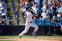 New York Yankees third baseman Angel Aguilar (89) follows through on a swing during a Grapefruit League Spring Training game against the Toronto Blue Jays on February 25, 2019 at George M. Steinbrenner Field in Tampa, Florida.  Yankees defeated the Blue Jays 3-0.  (Mike Janes/Four Seam Images)