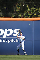 Hunter Cullen (33) of the Cal State Fullerton Titans waits to catch a fly ball during a game against the Gonzaga Bulldogs at Goodwin Field on March 12, 2017 in Fullerton, California. Fullerton defeated Gonzaga, 3-2. (Larry Goren/Four Seam Images)