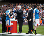 Rangers legend John Greig presents Rangers with their winners medals