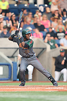 Luis Castro (19) of the Boise Hawks bats during a game against the Hillsboro Hops at Ron Tonkin Field on August 22, 2015 in Hillsboro, Oregon. Boise defeated Hillsboro, 6-4. (Larry Goren/Four Seam Images)