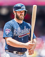 22 June 2014: Atlanta Braves catcher Evan Gattis steps up to the plate against the Washington Nationals at Nationals Park in Washington, DC. The Nationals defeated the Braves 4-1 to split their 4-game series and take sole possession of first place in the NL East. Mandatory Credit: Ed Wolfstein Photo *** RAW (NEF) Image File Available ***
