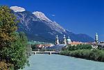 Austria, Tyrol, Innsbruck at river Inn: St. James Cathedral, City-Tower and Nordkette mountains | Oesterreich, Tirol, Innsbruck am Inn: Dom zu St. Jakob und Stadtturm vor Nordkette